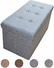 Stylehome® Sitzbank Sitzhocker Sitzwürfel Aufbewahrungsbox Fußbank Hocker faltbar belastbar Leinen Farbauswahl Größenauswahl 2676-18-Grau
