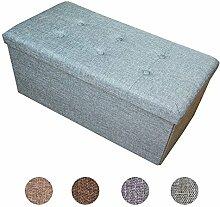Stylehome® Sitzbank Sitzhocker Sitzwürfel Aufbewahrungsbox Fußbank Hocker faltbar belastbar Leinen Farbauswahl Größenauswahl 2676-21 Grün-Grau