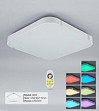 Stylehome® Weiss 24W RGB LED Deckenlampe Küchenlampen 3000-6000K volldimmbar mit Farbwechselfunktion I7 450*450mm