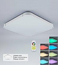 Stylehome® Weiss 48W RGB LED Deckenlampe Küchenlampen 3000-6000K volldimmbar mit Farbwechselfunktion I7 650*650mm