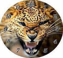 Stylische Wanduhr fauchender Leopard Raubkatze Uhr
