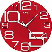 stylische Wanduhr Rot AMS 9462 Designer Wanduhr