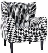 Stylischer Haute Couture Ohrensessel COCO schwarz weiß Hahnentrittmuster Sessel Wohnzimmersessel