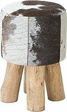 Stylischer Kuhfell Hocker RODEO COLLECTION 45cm braun weiß Holzbeine Fellhocker Sitzhocker