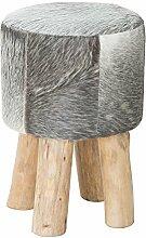 Stylischer Kuhfell Hocker RODEO COLLECTION 45cm grau Holzbeine Sitzhocker Echtfell Fußhocker