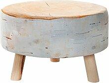 Stylischer Sitzhocker BIRCH 30 cm braun gepolstert Baumstamm-Optik mit Holzbeinen Polsterhocker mit Stoffbezug Fußhocker Motiv Druck