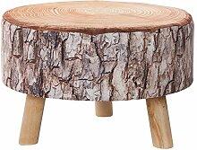 Stylischer Sitzhocker CONIFER 30 cm braun gepolstert Baumstamm-Optik mit Holzbeinen Polsterhocker mit Stoffbezug Fußhocker Motiv Druck