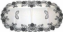 Stylischer Tischläufer mit Stickerei, Gr. 120x60 cm in weiss / schwarz