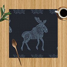 Stylish Texture Doodled Baikal Elk Abstract Nature