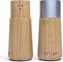 STYLJO Salz- und Pfefferstreuer Holz - exklusives modernes Design, robust und langlebig, ausgezeichnete Geschenkidee / massives Holz (Braun)