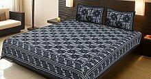 Stylo Kultur Baumwolle bedruckt Doppelbett Blatt Kissenbezüge Grau Floral Bettlaken Bettlaken Se