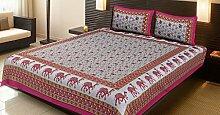 Stylo Kultur Baumwolle Magenta Kamel Floral Bettlaken Kissenbezüge Doppelbett Bettlaken Se
