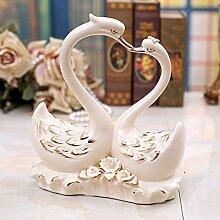 SU@DA Europäisch anmutende Heimtextilien Wohnzimmer Dekoration Hochzeitsgeschenk gold Paare Keramik Schwan , 27*12*29
