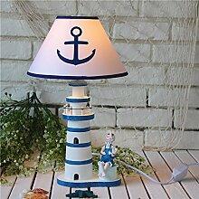 SU@DA Mediterranen Stil Schlafzimmer Arbeitszimmer Wohnzimmer Heimtextilien Tischlampe Kinder Nachttischlampe großen hölzernen Leuchtturm 45cm , 2