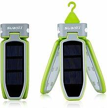 Suaoki Camping Laterne 18 LED Solarleuchte Solar Lampe faltbare Taschenlampe, USB & Solar Wiederaufladbare Laterne für Reisen, Camping, Wandern, Angeln, Außen Garten Innenhof, Notfall (Grün)