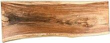 Suar Waschtischplatte für Doppelwaschbecken XXL geschliffen 180x50x10cm Holzplatte Massivholz Baumstamm