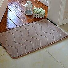 SUBBYE Türmatten Wohnzimmer Schlafzimmer Bodenmatten Küche Fußpolster Badezimmer Wasserabsorptions-Türmatten (Farbe, Größe Optional) ( Farbe : Light tan-1 , größe : 60*90cm )