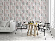 Sublime Tapete mit geometrischem Muster, Rot/Grau