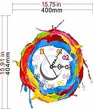 Sucastle® 40.4CMx40CM PVC DIY 3D Wanduhren Modern Design Acryl Wanduhren Wandtattoo Dekoration fürs Wohnzimmer Kinderzimmer Nostalgie Wanduhr ohne Tickgeräusche Wanduhr Europäische Vintage Handarbeit 3D Dekorative Zahnrad aus Holz