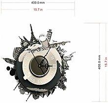 Sucastle® 40CMx40CM PVC DIY 3D Wanduhren Modern Design Acryl Wanduhren Wandtattoo Dekoration fürs Wohnzimmer Kinderzimmer Nostalgie Wanduhr ohne Tickgeräusche Wanduhr Europäische Vintage Handarbeit 3D Dekorative Zahnrad aus Holz