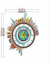 Sucastle® 48.1CMx40CM PVC DIY 3D Wanduhren Modern Design Acryl Wanduhren Wandtattoo Dekoration fürs Wohnzimmer Kinderzimmer Nostalgie Wanduhr ohne Tickgeräusche Wanduhr Europäische Vintage Handarbeit 3D Dekorative Zahnrad aus Holz