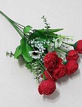 Sucastle®, 7 Tropfen Kamelie Blumen Heimtextilien Zweig , yellow, Künstliche Blumen, Simulationsblumen