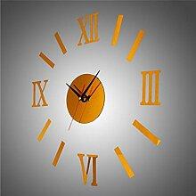 Sucastle Acryl, Wanduhr, Spiegel, Wanduhr, Rom, digitale Uhr, Mute (ohne Batterie) GXCF