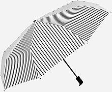 Sucastle Anti-Ultraviolett, kleine frische, Streifen, sonniger Regen, Regenschirm, dreifach, doppelter Gebrauch, Vinyl, Regenschirm, Schatten, Sonnenschutz, Regenschirm Sucastle: Farbe: Schwarz-Weiß-Streifen: Größe: Krümmung; 110cm:; Grifflänge 58cm