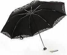 Sucastle Anti-Ultraviolett, Sonnenschirm, Sonnenschutz, sonniger Regenschirm, Sonnenschirm, Falten, Regenschirm, Mode, Retro, weiblicher Regenschirm Sucastle: Farbe: Schwarz und Weiß: Größe: 53cm