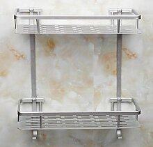 Sucastle,Badezimmer, Raum Aluminium, Regale, rechteckig, Aluminium, Regale, Bad, Licht, Doppel, Kosmetik, Pylone?Aluminium,Silber,QWERT,