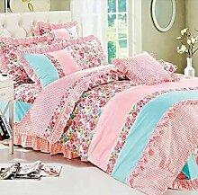 Sucastle Bedding kreativ Blumengewebe dreiteilig einfach wellenförmige Spitze Bettwäsche Bett Sucastle:Farbe:Farbe:Größe:150*200cm