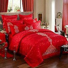 Sucastle Bettwäsche Hochzeit vierteilige Baumwolle Stickerei rot Bettwäsche Bettdecke Baumwolle Bettwäsche Sucastle:Größe:220*240cm