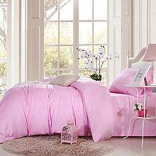 Sucastle Bettwäsche lang-stapel Baumwolle Einfarbig Steppdecke Kissenbezüge Baumwolle vierteilig Sucastle:Größe:200*230