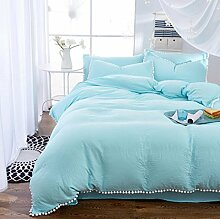 Sucastle Bettwäsche neu Sahnebeutel Quasten gewaschene Baumwolle Denim Einfarbig Birne Ball Bettwäsche Sucastle:Größe:200*230CM