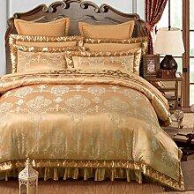 Sucastle Bettwäsche Stickereien Blumenclip Baumwolle-Typ Bett Unternehmen Kissen Bett Röcke eine vierköpfige Familie Sucastle:Größe:220*240CM