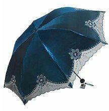 Sucastle Blumenherz, dreifach, Sonnenschutz, Anti-Ultraviolett, Schatten, Regenschirm, sonniger Regen, Regenschirm Sucastle: Farbe: Seeblau: Größe: Solitär; 113cm: Durchmesser; 67cm