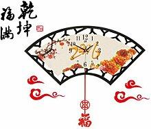 Sucastle Chinesische Stil Stil Wanduhr Fan Wanduhr CWFP
