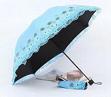 Sucastle Dandelion, Spitze, sonniger Regen, Regenschirm, Vinyl, kreativ, Sonnenschutz, sonniger Regen, Sonnenschirm, Sonnenschutz, UV-Schutz, Falten, Regenschirm Sucastle: Farbe: blau: Größe: Krümmung; 116cm:; Grifflänge 64cm