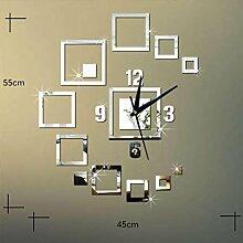 Sucastle Diy, kreativ, Spiegel, Wanduhr, Quadrat, Spiegel und Stereo, Acryl, Wohnzimmer, Wanduhr, Idee, Dekoration, Stummschaltung, im Uhrzeigersinn (ohne Batterie) GXCF
