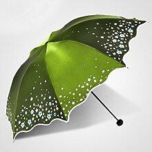 Sucastle Dreifach, Damen, kreativ, Vinyl, Sonnenschutz, UV-Schutz, Schatten, Regenschirm, sonniger Regen, Regenschirm Sucastle: Farbe: grün: Größe: Solitär; 114cm: Durchmesser; 63cm