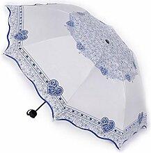 Sucastle Kleine frische, Liebe, schwarze Regenschirm, Sonnenschutz, Anti-Ultraviolett, Falten, Sonnenschirm, Persönlichkeit, Kreativität, Schatten, Regenschirm Sucastle: Farbe: weiß: Größe: Solitär; 110cm: Durchmesser; 64cm