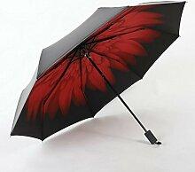 Sucastle Kreativ, Sommer, Sonnenschutz, Vinyl, sonniger Regen, Regenschirm, Schatten, dreifach, schwarzer Regenschirm Sucastle: Farbe: Außerhalb des Schwarzen im Inneren des Rot: Größe: 54x8