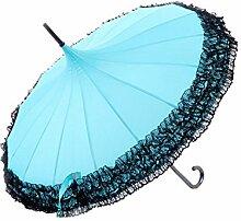 Sucastle Lace, Sonnenschutz, Pagode, Sonnenschirm, Anti-Ultraviolett, Schatten, sonniger Regenschirm, Prinzessin, langer Gerade, Regenschirm, Sucastle: Farbe: blau: Größe: Shoulon Länge: 85cm