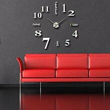 Sucastle Stilvoll, einfach, Wohnzimmer, DIY, Wanduhren, Wandaufkleber Uhr, kreativ, Uhren, stumm, ohne Rahmen, Wanduhr, WYFC