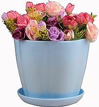SUDOOK Kunststoff Pflanze Blumentopf mit Untertasse Palette Circle Flower Bunte Pflanztöpfe für Home Office Hotel Decor barriques Form, blau, S