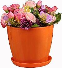 SUDOOK Kunststoff Pflanze Blumentopf mit Untertasse Palette Circle Flower Bunte Pflanztöpfe für Home Office Hotel Decor barriques Form, Orange, S