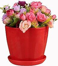 SUDOOK Kunststoff Pflanze Blumentopf mit Untertasse Palette Circle Flower Bunte Pflanztöpfe für Home Office Hotel Decor barriques Form, rot, Large