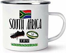 Südafrika Rugby Retro Emaille Becher Tasse