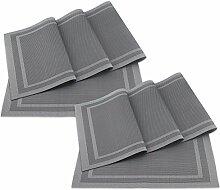 SueH Design Platzsets / Tischsets 8er Set Vinyl 45 * 30 CM Silber