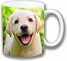 Süß Gelb Labrador Welpe Lächelnde Keramik Kaffee Tasse Einzigartige Geschenkidee